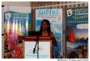 Bernadette Willemin, Director of Marketing for Europe, in her presentation at the Seychelles Tourism Board Mid-year Review / Photo from