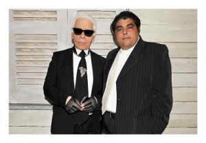 Karl Lagerfeld with Bobby Hiranandani, Managing Director of Royal Group Holdings (LR)