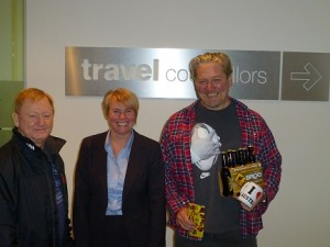 Travel Counsellors clients Joseph Samuels and Richard Walton with Tracy Parkinson – Travel Counsellors Australia Manager.