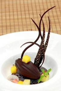 Decadent Balinese delights: Locally-supplied chocolate pod filled with tapioca pearls and passion fruit.