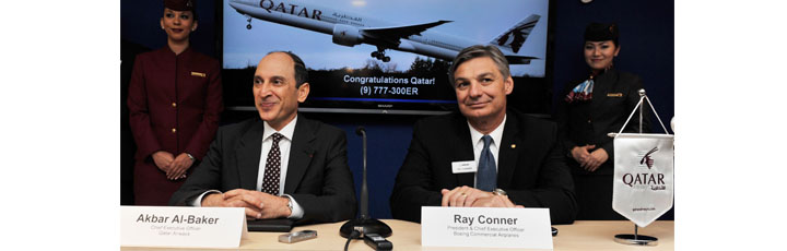 Qatar Airways Chief Executive Officer Akbar Al Baker, pictured left, at a press conference on the opening day of the Paris Air Show today with Boeing Commercial Airplanes President and CEO Ray Conner as the airline announced an order for nine new Boeing 777 aircraft.