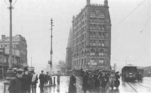 MARCUS CLARK's department store dominates Sydney's Railway Square in 1908. (Sydney City Council Archives)