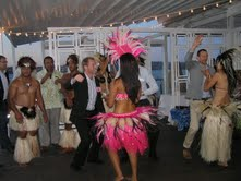 Tim Swan from Air New Zealand joins the dancers on The Island