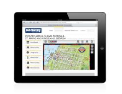 Discovery Map travel guide on a tablet device.