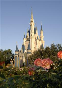 Castle Spires — Colorful flowerbeds surround Cinderella Castle in the Magic Kingdom at Walt Disney World Resort. Rising 17 stories into the Florida sky, the structure serves as a landmark for park visitors and provides an entryway into Fantasyland. (Gene Duncan, Photographer)