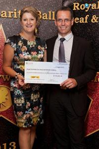 Merran Wiggin, TravelManagers' personal travel manager and Chris Rehn, CEO Royal Institute for Deaf and Blind Children with the fundraising cheque for $115,445.36 raised from the ARTC Annual Charity Ball