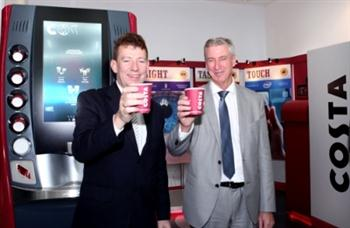 L-R: Paul Griffiths, CEO of Dubai Airports and Gary Chapman, President of Group Services & Dnata, Emirates Group enjoying the first cups of Costa Coffee served at the worldwide launch of the Marlow 200 - Costa Express at Terminal 3, Concourse A, Dubai International Airport