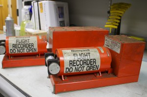 Cockpit Voice Recorder (front) and Flight Data Recorder (rear). NTSB