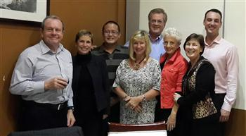 Frank at his CZ farewell with (L-R) Bill Bryant, CZ; Barb Taylor, Accor; Edward Wang, CZ; Janice Antonson, Cairns Airport; Frank and Rosemary Gyzemyter; Yvonne Janiszewski, CZ; Ben James, Brisbane Airport.