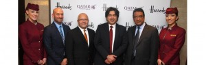 Qatar Airways Vice President Commercial North, South and Western Europe Paul Johannes (far left) and Qatar Airways Chief Commercial Officer, Marwan Koleilat (third left), join Deputy Ambassador Fahad Al-Mushairi (third right) for the State of Qatar (right) and Raj Assanand, Business Development Director for Harrods for a photo opportunity.