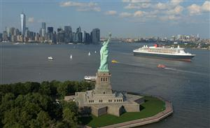 QM2 and the Statue of Liberty email 2. Mandatory credit James Morgan, Cunard