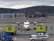 TwitterPic of QantasLink Dash8 evacuation in Canberra taken by Andrew Moore