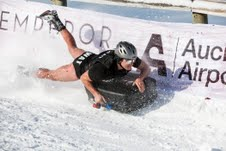 Mark Wilson going wild trying to win the Auckland Airport Suitcase Race on Coronet Peak during the American Express Queenstown Winterfestival