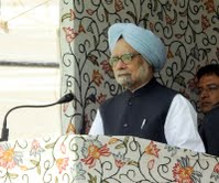 Indian Prime Minister Dr Manmohan Singh during inauguration of the new railway line in Kashmir