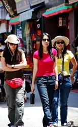 Tibet Lhasa Barkhor streets tourists, famous streets attraction in Lhasa