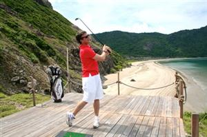Driving Practice with the biodegradable fish-food golf ball at Six Senses Con Dao