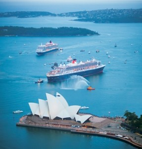 A Cunard Royal Rendezvous with flagship Queen Mary 2 (foreground) and Queen Elizabeth near the world–famous Sydney Opera House  in Sydney