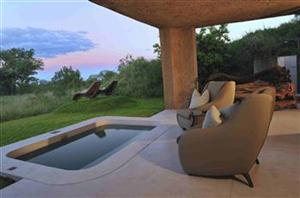 PEACE in the wild: guest's private patio with plunge pool overlooking bushveld. (Sabi Sabi PGR)