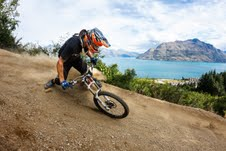 Queenstown Bike Park tracks with amazing lake and mountain views. Credit photographer Sean Lee
