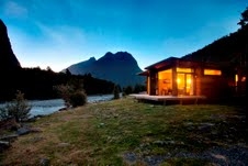 The stunning Milford Sound Lodge at dusk