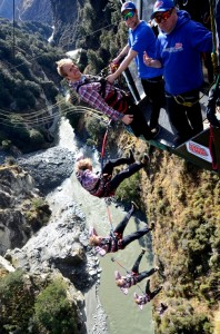 US Olympic gold medallist skier Ted Ligety doing a backwards 'swing' at Queenstown's Shotover Canyon Swing _media