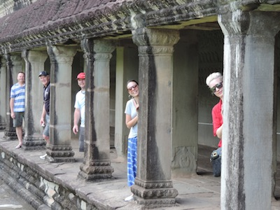 Agents line up at Angor Wat L-R Allan Whiteley, Robert Diamond , Jonathan Hickman , Brooke Wilson and Kelly Simpson.