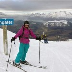 Local Queenstowner Catherine Stewart about to take on the new snow from the top of Greengates Express_media