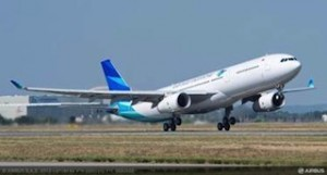 One of the new Garuda Indonesia A330-300 aircraft takes flight