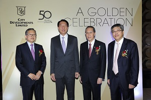 (Left to right) CDL Executive Chairman Mr Kwek Leng Beng, DPM Mr Teo Chee Hean, CDL Managing Director Mr Kwek Leng Joo and CDL Director Mr Kwek Leng Peck at CDL's 50th Anniversary Gala Dinner celebration at W Singapore - Sentosa Cove which took place on 6 September 2013