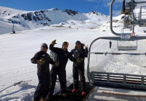 Remarkables Liftees Laura Prosser, Tobias Grandstrom and Cam Soulsby happy to run the lifts for another week_media