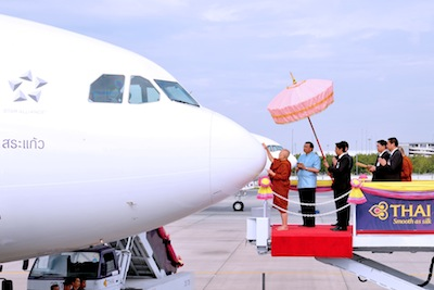 TG169-THAI Holds Aircraft Anointing Ceremony for Airbus A330-300 and Boeing 777-300ER
