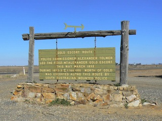 ONE of many signs and markers along the route of the Gold Escorts from Mt      Alexander near Bendigo to Adelaide. (Monument Australia.)
