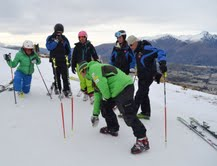 Head coach Sasha Rearick (centre front) in coaching session on Coronet peak