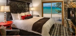 A Landing Resort guest room features fireplace, deck and Lake Tahoe view. (Photo © The Landing Resort & Spa)