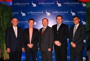 From left to right: Mr Arni Ditri, Lead Member of the Board of Directors, Rediscovered; Mr Mark Keith, Director of the Board of Directors, Rediscovered; Mr Simon Galpin, Director-General of Investment Promotion, Invest Hong Kong; Mr Andrzej Cetnarski, Founder, Chairman, CEO, Rediscovered; Mr Arvan Khattar, Director of the Board of Directors, Rediscovered