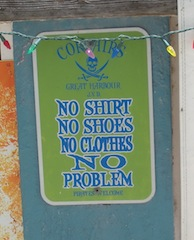 SIGN says it all about Jost van Dyke, the Caribbean's Party Central. (Corsair's Bar)