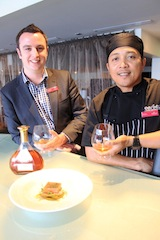 Crowne Plaza Queenstown's Guy Robinson and Ricky Isnanto sample the Cognac Croizet-infused menu