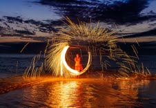 Fire show by the beach during BFTE earlier this year