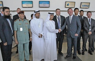 HE Sheikh Salem Al Qasimi and Tony Lynch with Andrew Gower at ARINC go-live(1)