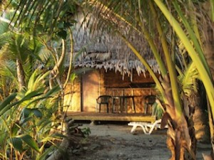 VISITOR accommodation is largely rustic, as seen here at Kosrae Village Resort. (Katrina Adams)