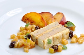Marjolaine of Foie Gras with Grilled Peaches and Apple Chutney