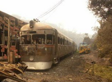 One of the carriages damaged in bushfires at the Zig Zag Railway at Lithgow