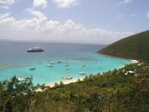 ONLY inter-island ferries, boutique ships and tall-masters can visit here; 112-passeger SeaDream II anchors off Jost van Dyke. (SeaDream Yacht Club)