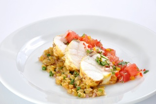 Tandoori Spiced Monkfish on Lentil Salad with Watermelon Salsa