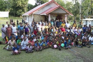 The Talwa community gather at their new kindergarten