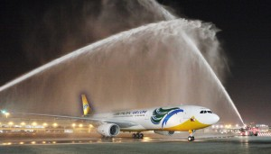 Water Salute for Cebu Pacific Air's Inaugural Long-Haul Flight from Manila to Dubai on 7 October 2013