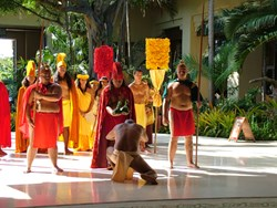 Kauai's Royal Court accepts a gift offering during the Na Lima Hana Festival