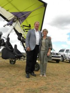 Andrew and Vivian Woollon from DemcoTECH engineering at Shamwari Game Reserve, who sponsored the micro light