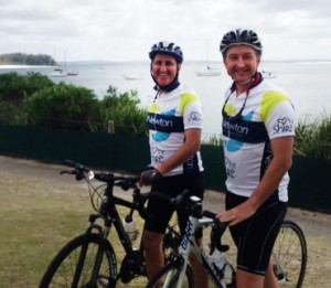TravelManagers' Executive General Manager Michael Gazal with team mate David Newton, gearing up to participate in The Gong Ride raising $10,000 for Multiple Sclerosis