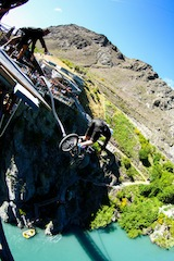 A bicycle bungy was one of the many amazing stunt jumps performed throughout the day at the Kawarau Bungy Bridge_media